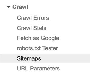Crawl section in Google Search Console