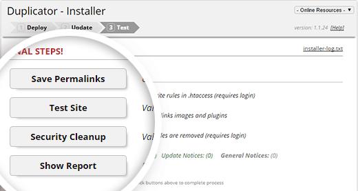 Duplicator installer final steps
