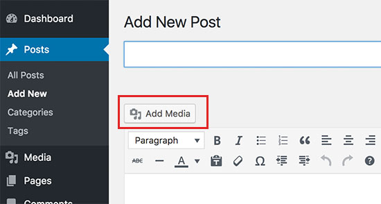 Click on add media button to upload your photos in WordPress