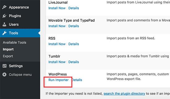 Run WordPress importer