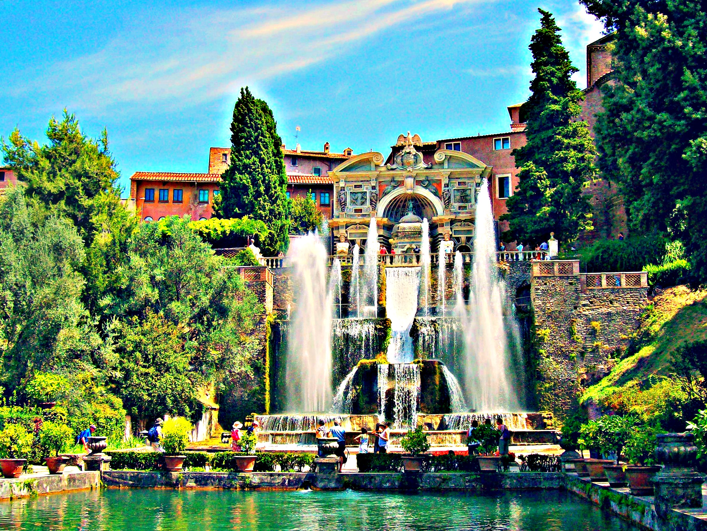 Tivoli Rome Weather Garden Villadeste Tivoli Italy Nature Hdr Colorful