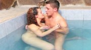 Pool water raises and hardens her nipples