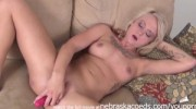blonde chick with tats keeps her dildo in with no hands just kegel muscles amazing