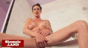 Inked shemale sensual teasing solo in shower