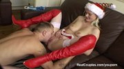 Couples Christmas fuck with anal and sex toys
