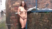Sexy amateur flasher Beaus outdoor striptease and voyeur exhibitionism of winter weather nude exposing pussy and tits outside in upskirt show in the streets