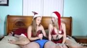 Teens Kimber Lee & Ashlynn Taylor Give Christmas Handjob!