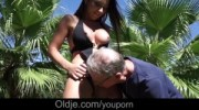Wet shaved pussy licked and fucked by step-dad huge old cock