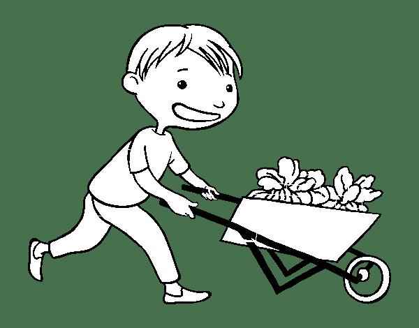 Disegno di Bambino con carretto da Colorare