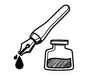 Disegno di Penna stilografica e calamaio da Colorare