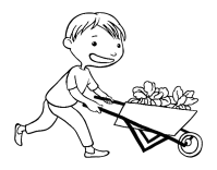 Coloriage de Enfant avec charrette pour Colorier ...