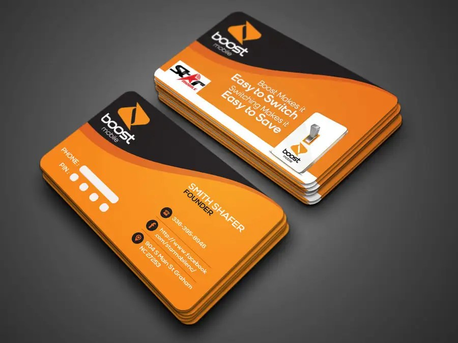 Entry #24 by munnaaziz02 for Boost Mobile Business Card Freelancer