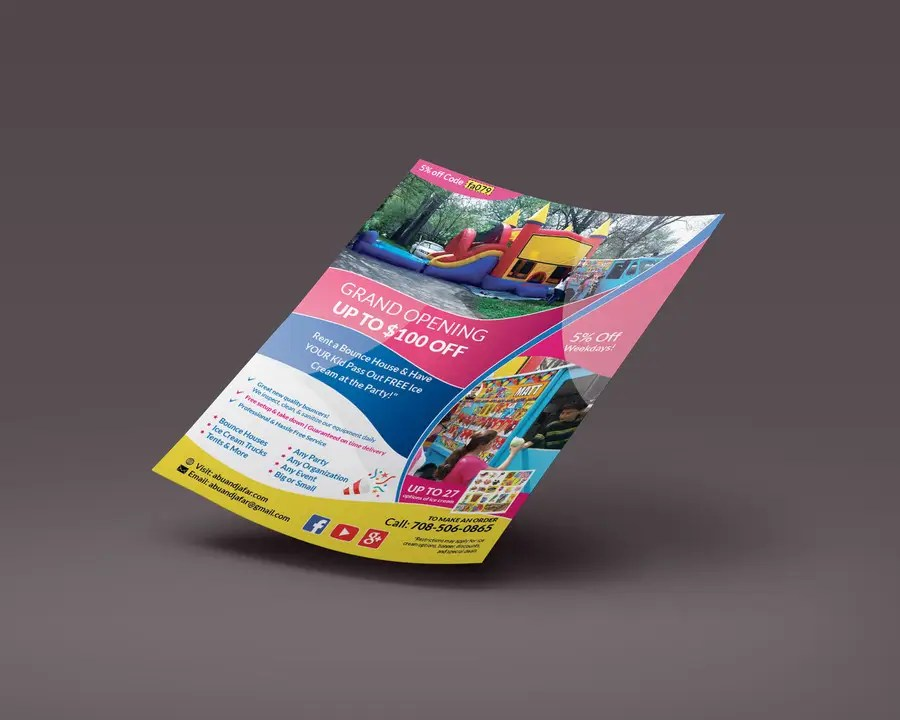Entry #25 by dexter000 for Design a Flyer, Doorhanger, and Yard Sign - party rental flyer