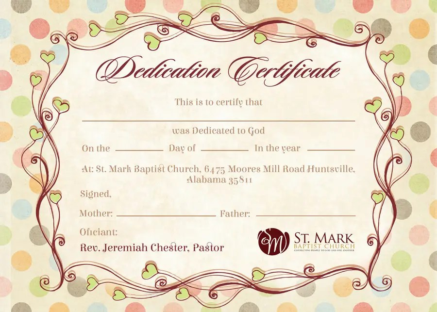 Stunning baby dedication certificate template ideas resume church church certificate templates free printable yadclub Image collections