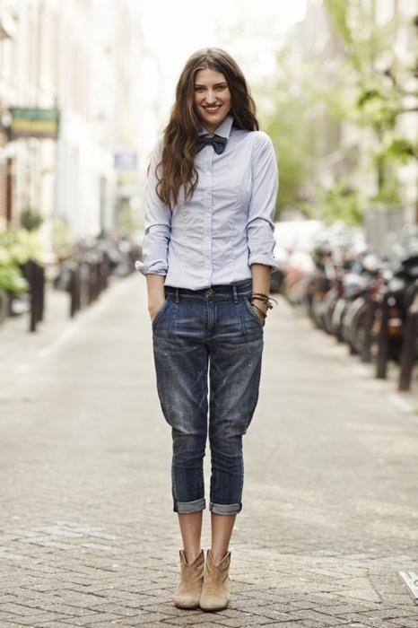 Women39s Grey Dress Shirt Navy Boyfriend Jeans Tan Suede