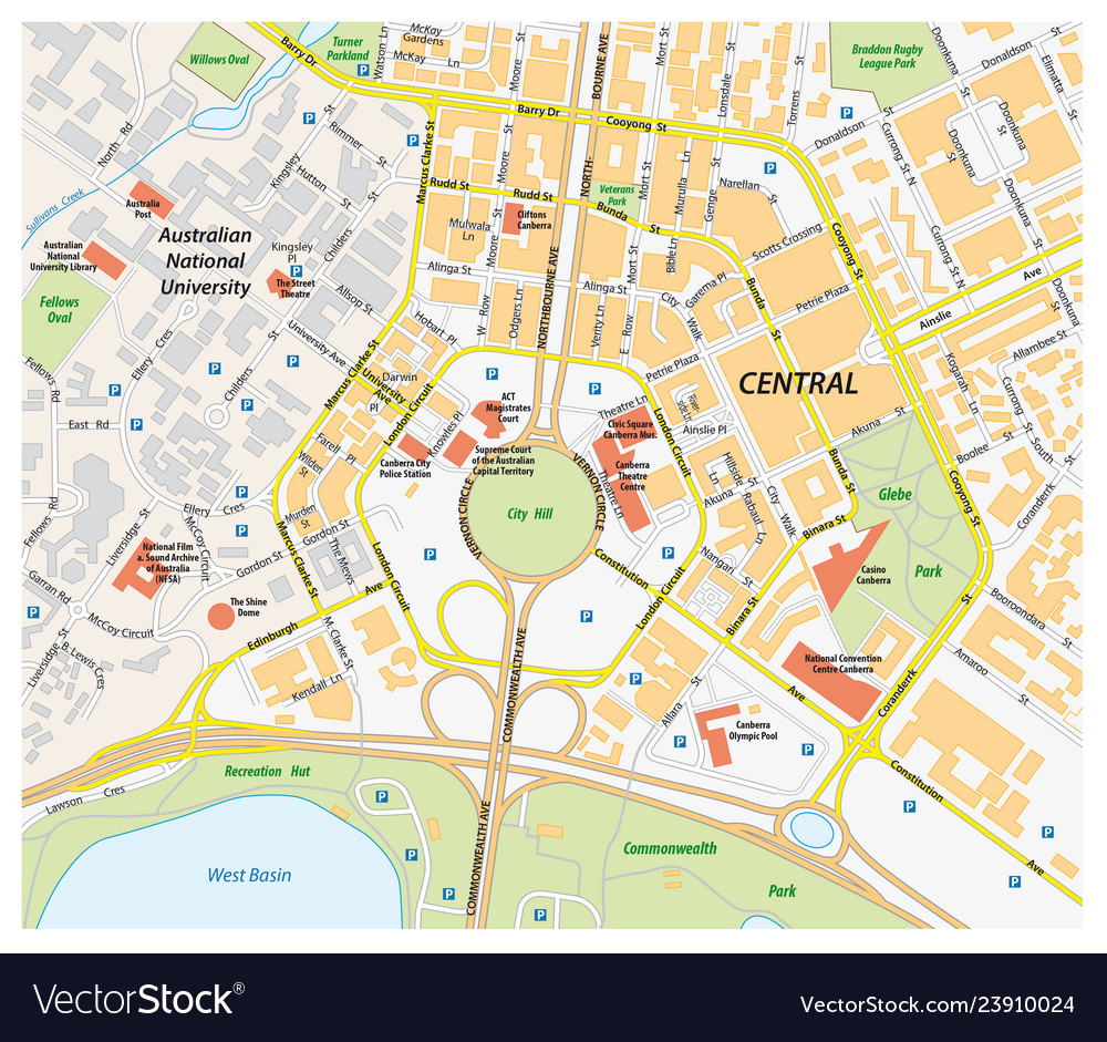 Map Of Canberra Road Map Of Central Canberra Australia