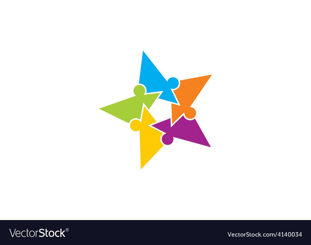 Star puzzle people diversity logo Royalty Free Vector Image