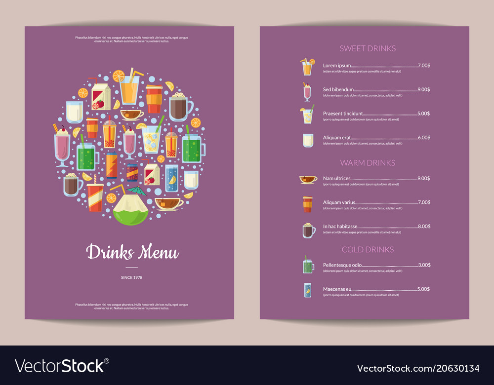 Vertical menu template with nonalcoholic Vector Image - drinks menu template