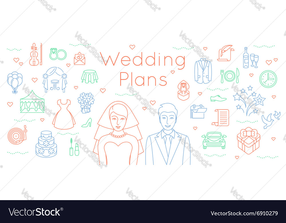 Wedding plans thin line flat background Royalty Free Vector - Wedding Plans