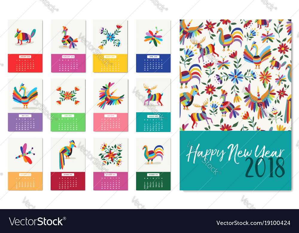 New year 2018 colorful mexican animal art calendar