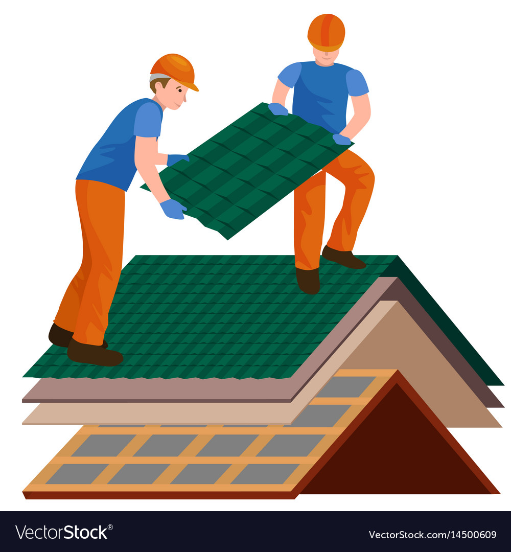 Construction Repair Roof Construction Worker Repair Home Build Vector Image On Vectorstock