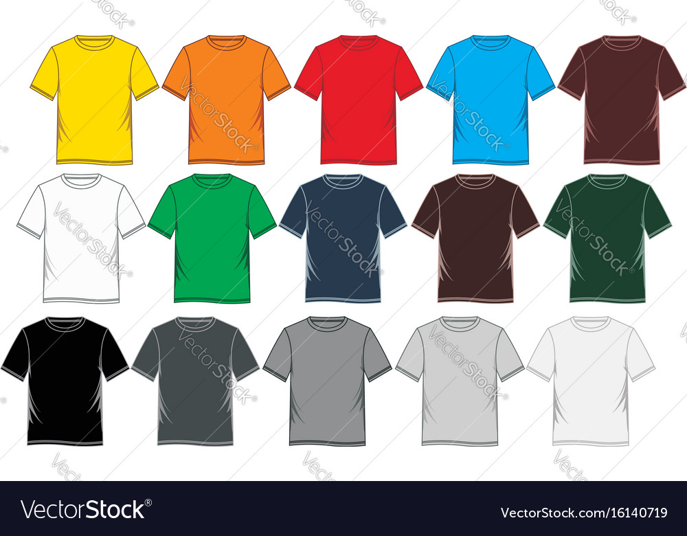 T-shirt template colorful blank Royalty Free Vector Image