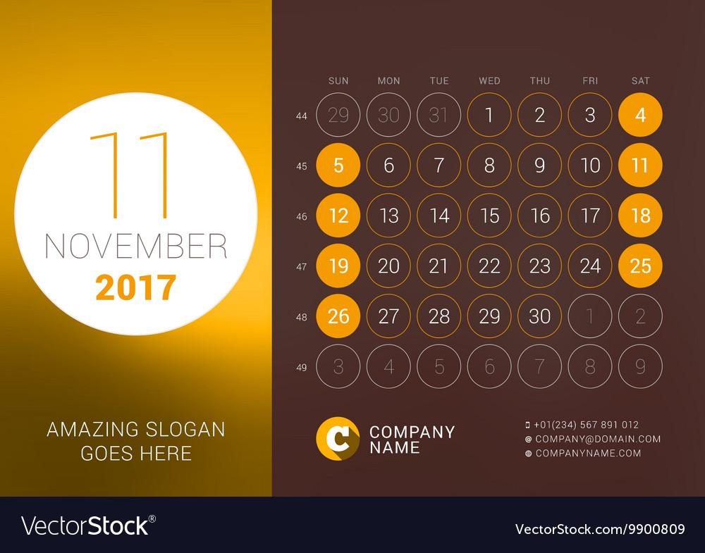 November 2017 Desk Calendar for 2017 Year Vector Image