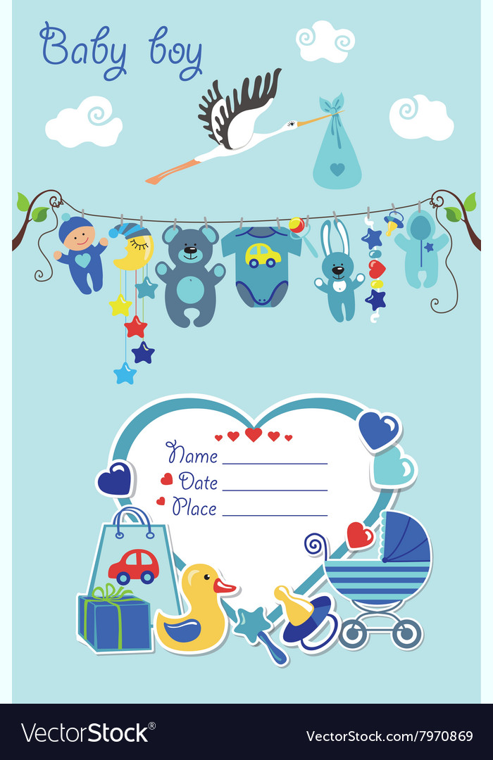 New born baby boy card shower invitation Vector Image