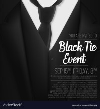 Black suit black tie event invitation template Vector Image