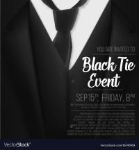 Black suit black tie event invitation template Vector Image