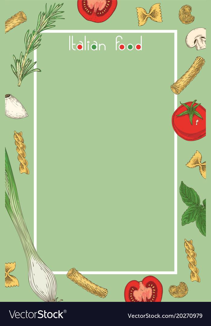 Italian food menu template Royalty Free Vector Image