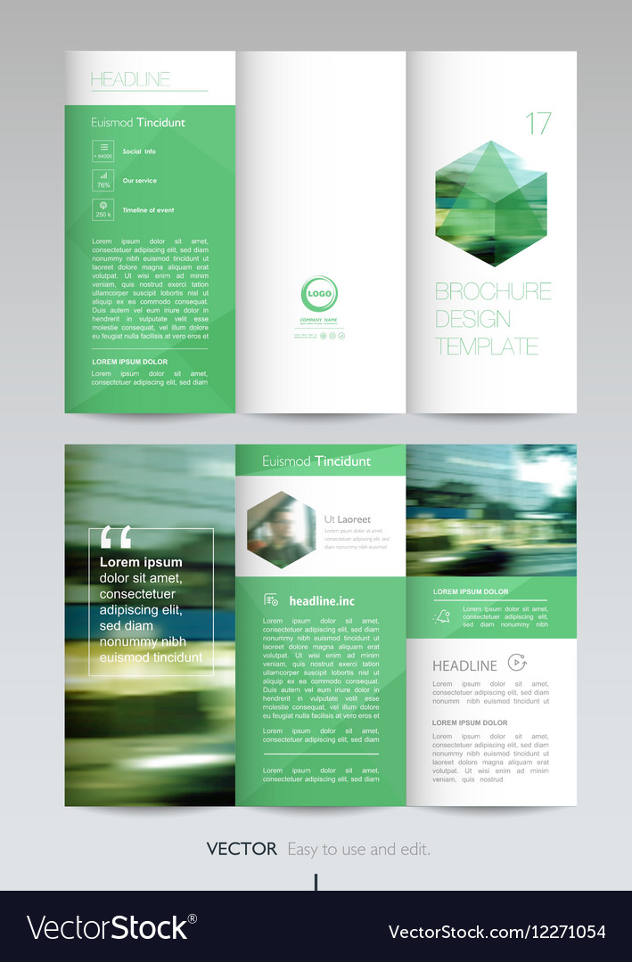Geometric Trifold Business Brochure template Vector Image - tri fold business brochure