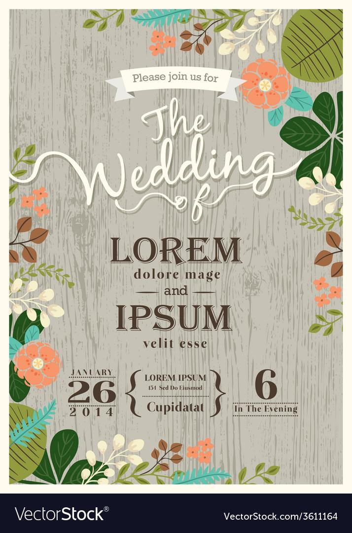 Vintage wedding invitation card floral background Vector Image