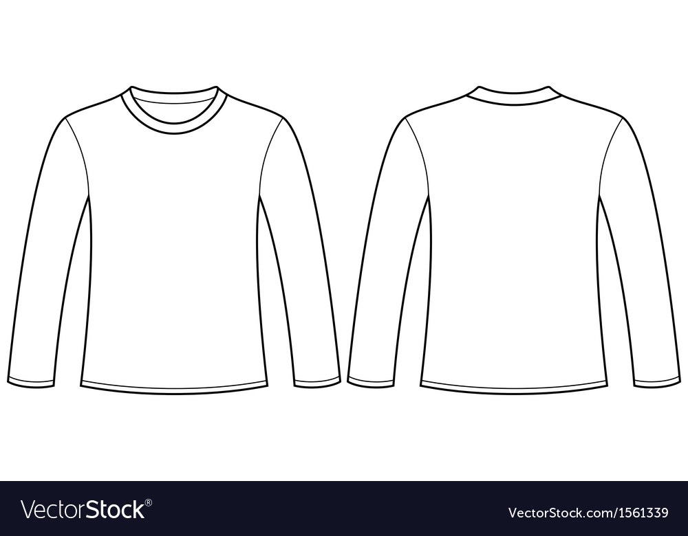 Long-sleeved T-shirt template Royalty Free Vector Image - t shirt template