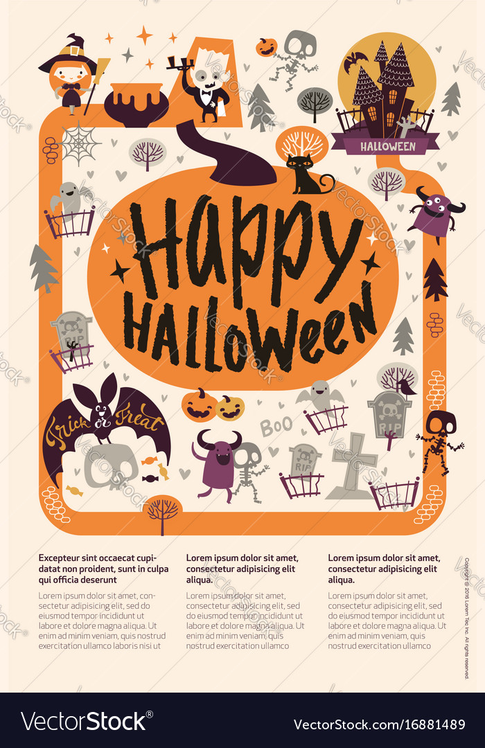 Lovely holiday happy halloween flyer template with