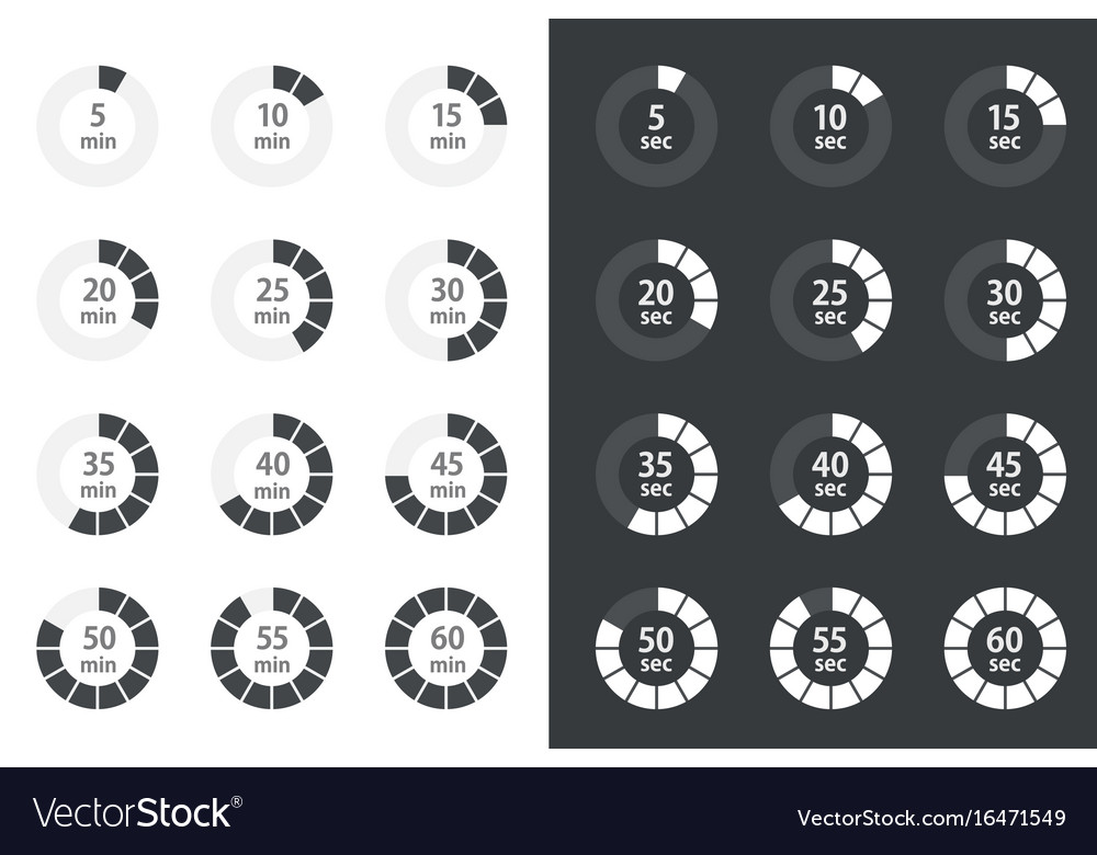 Timer icons set stopwatch icons Royalty Free Vector Image