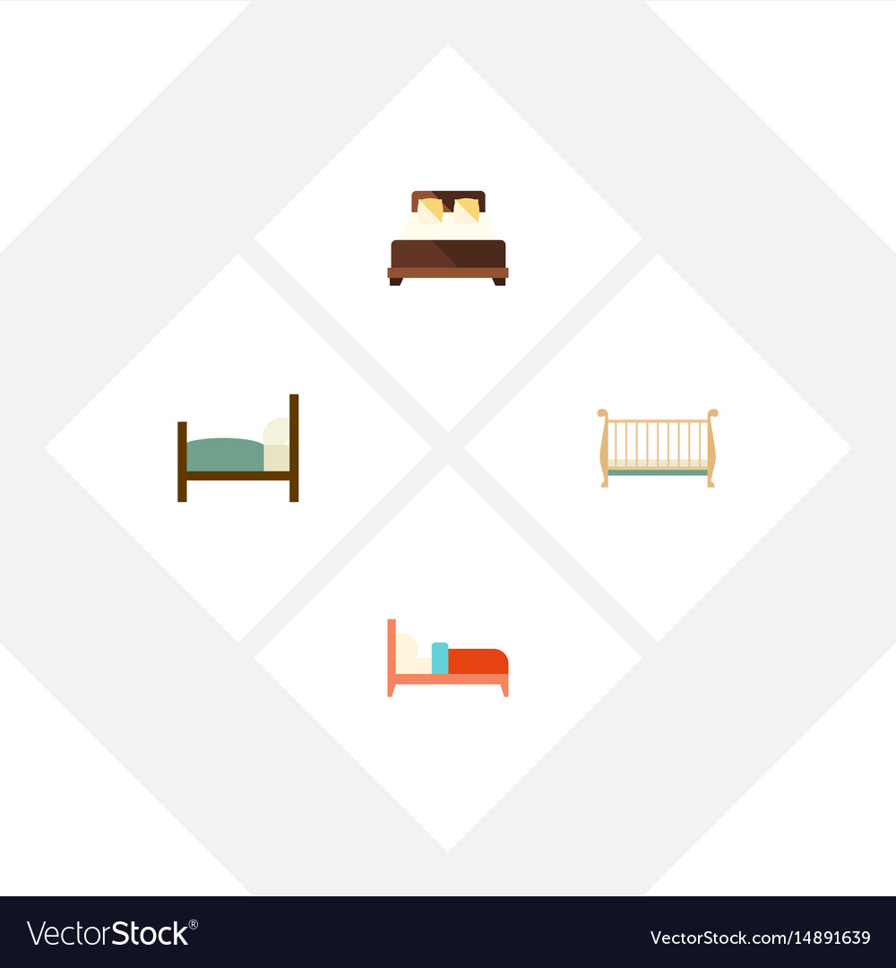 Mattress Cot Flat Mattress Set Of Bed Bearings Cot And Other Vector Image On Vectorstock