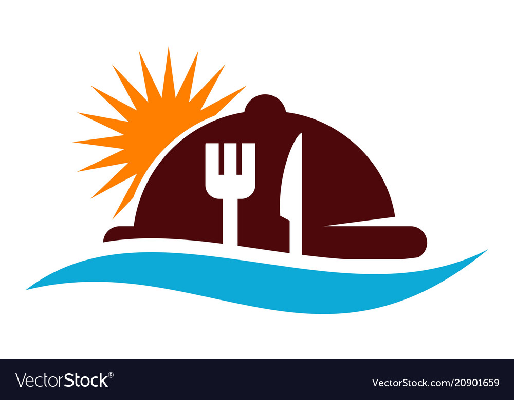Beach restaurant logo design template Royalty Free Vector