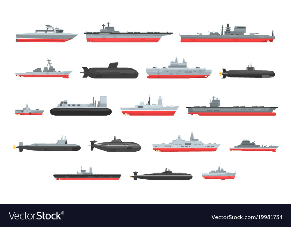 Different types of naval combat ships set Vector Image - types of ships