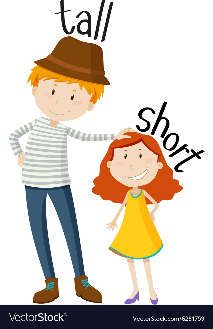 Cute Kid Wallpapers Free Download Opposite Adjectives Tall And Short Royalty Free Vector Image