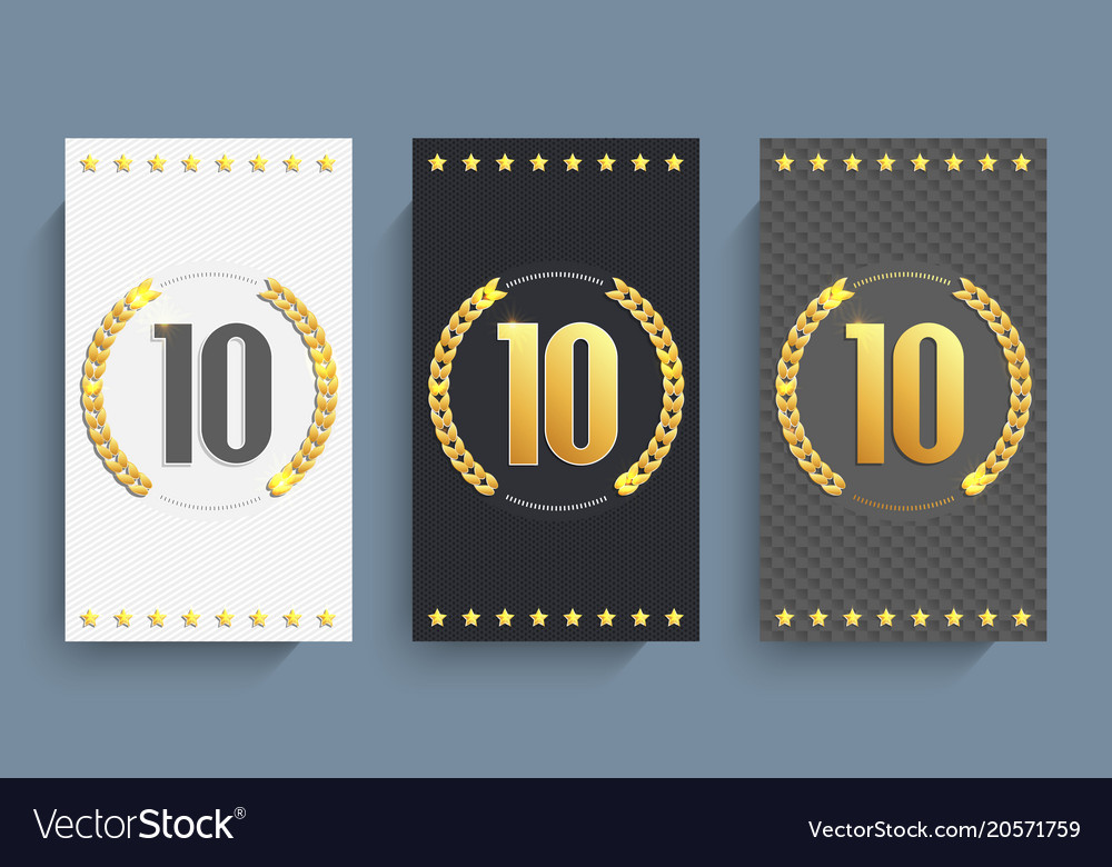 Set of 10th anniversary cards template Royalty Free Vector