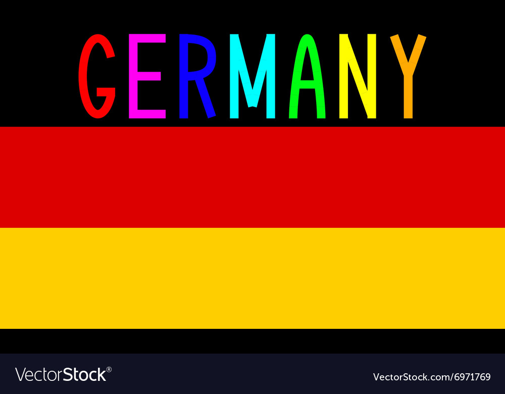 German flag and word Germany Royalty Free Vector Image - word flag