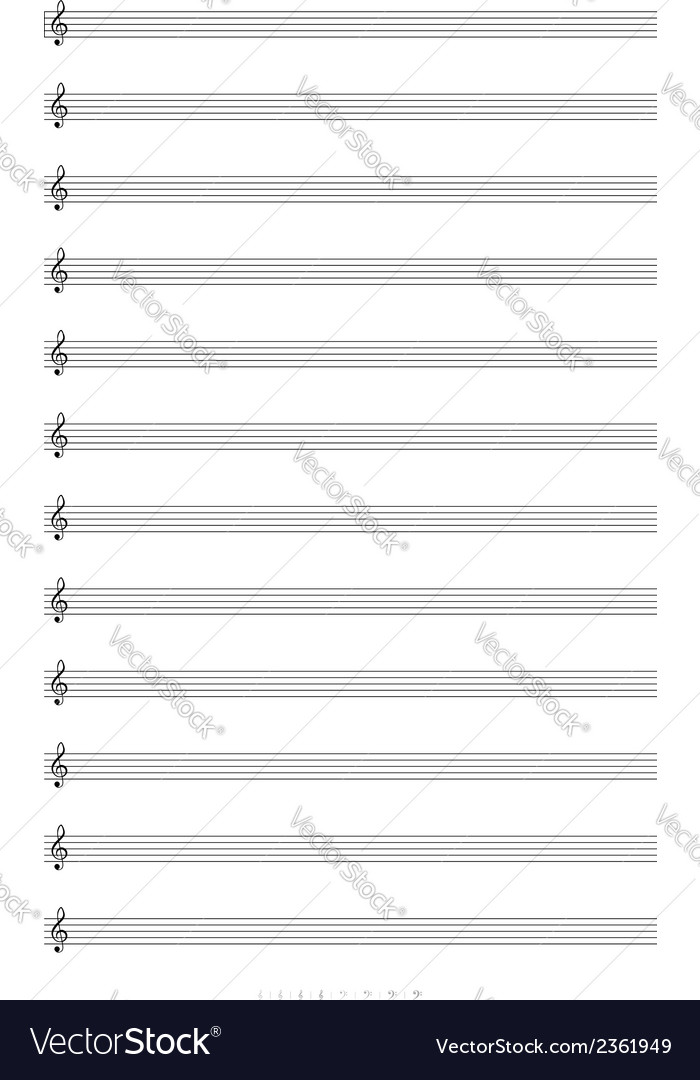 Blank A4 music notes with treble clef Royalty Free Vector - clef music