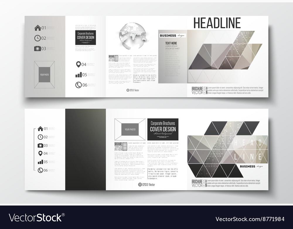 Set of tri-fold brochures square design Royalty Free Vector - tri brochures
