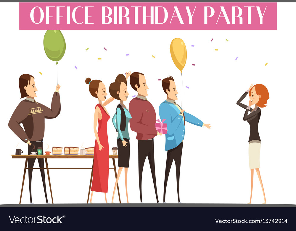Birthday party in office Royalty Free Vector Image