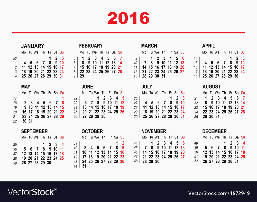 2016 Calendar template Horizontal weeks First Vector Image