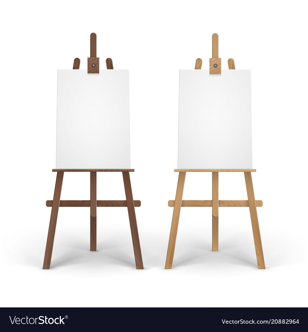 Easels Set Of Wooden Brown Sienna Easels With Mock Vector Image On Vectorstock