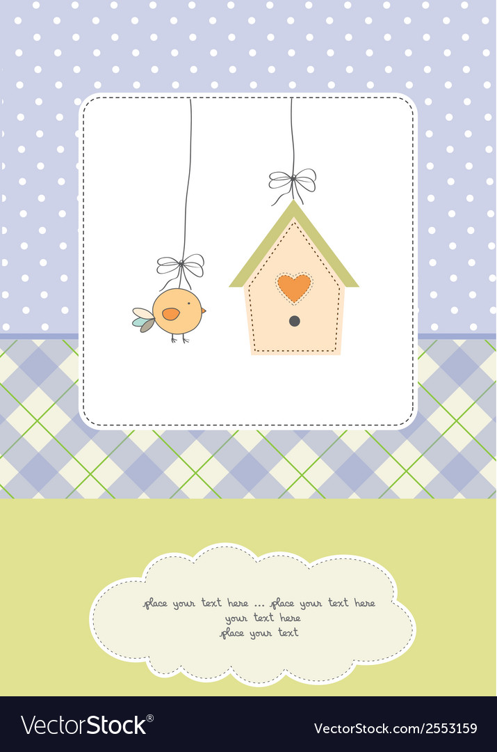 New baby announcement card with chicken Royalty Free Vector