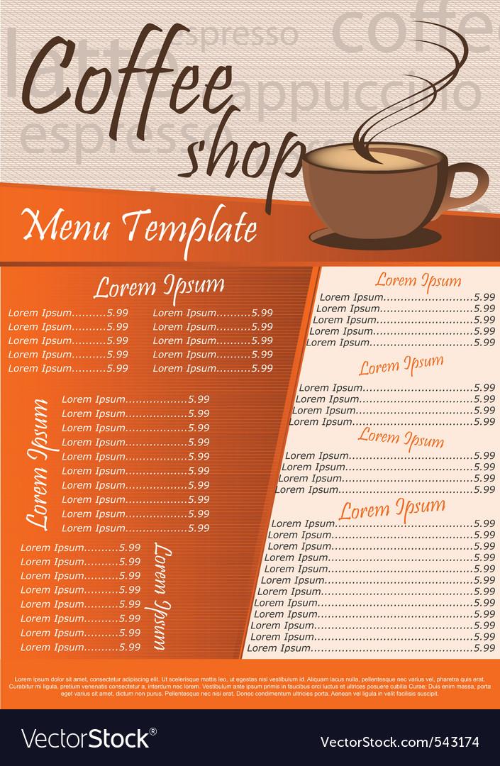 Coffee shop menu Royalty Free Vector Image - VectorStock