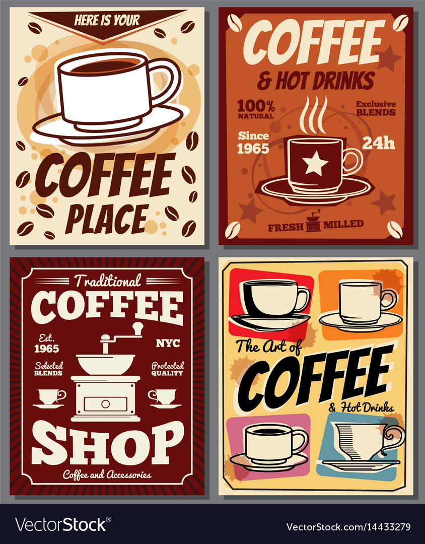 Vintage Café Cafe And Restaurant Retro Posters Templates